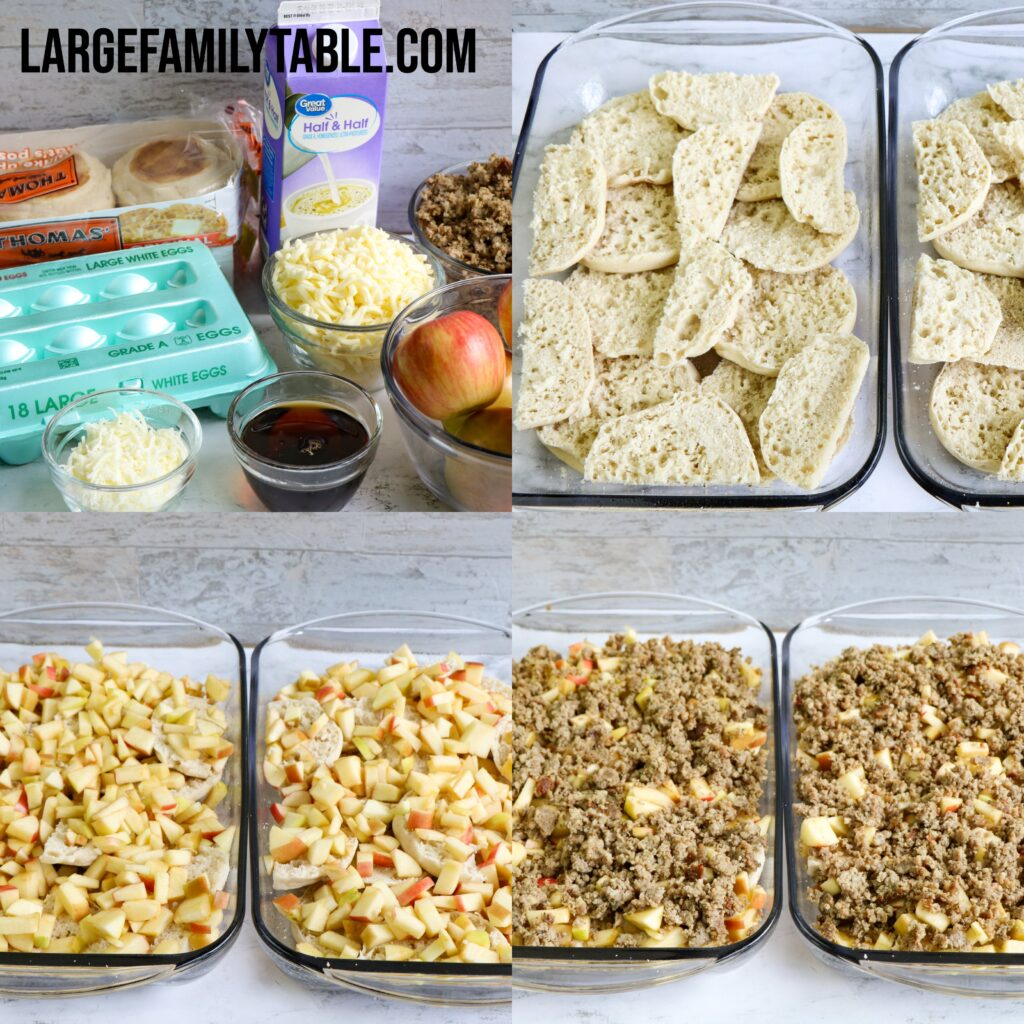 Large Family Sausage and Apple English Muffin Strata | Freezer Meal