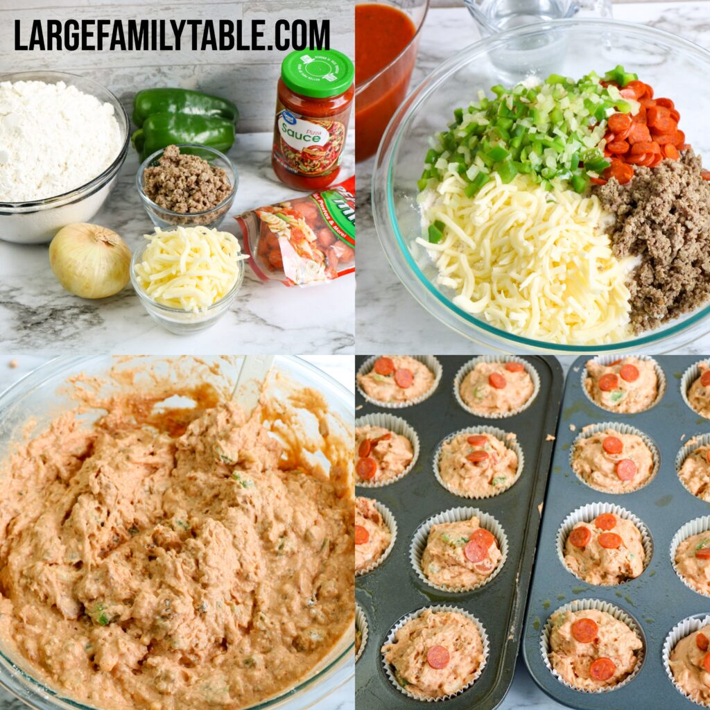 Large Family Supreme Pizza Muffins | Freezer Lunch Meal