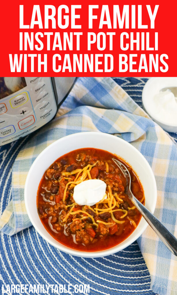 Large Family Instant Pot Chili with Canned Beans