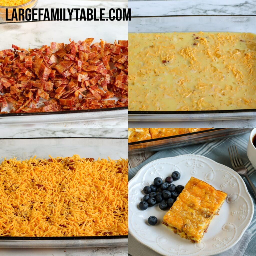 Large Family Low Carb Bacon Breakfast Casserole   THM-S, KETO