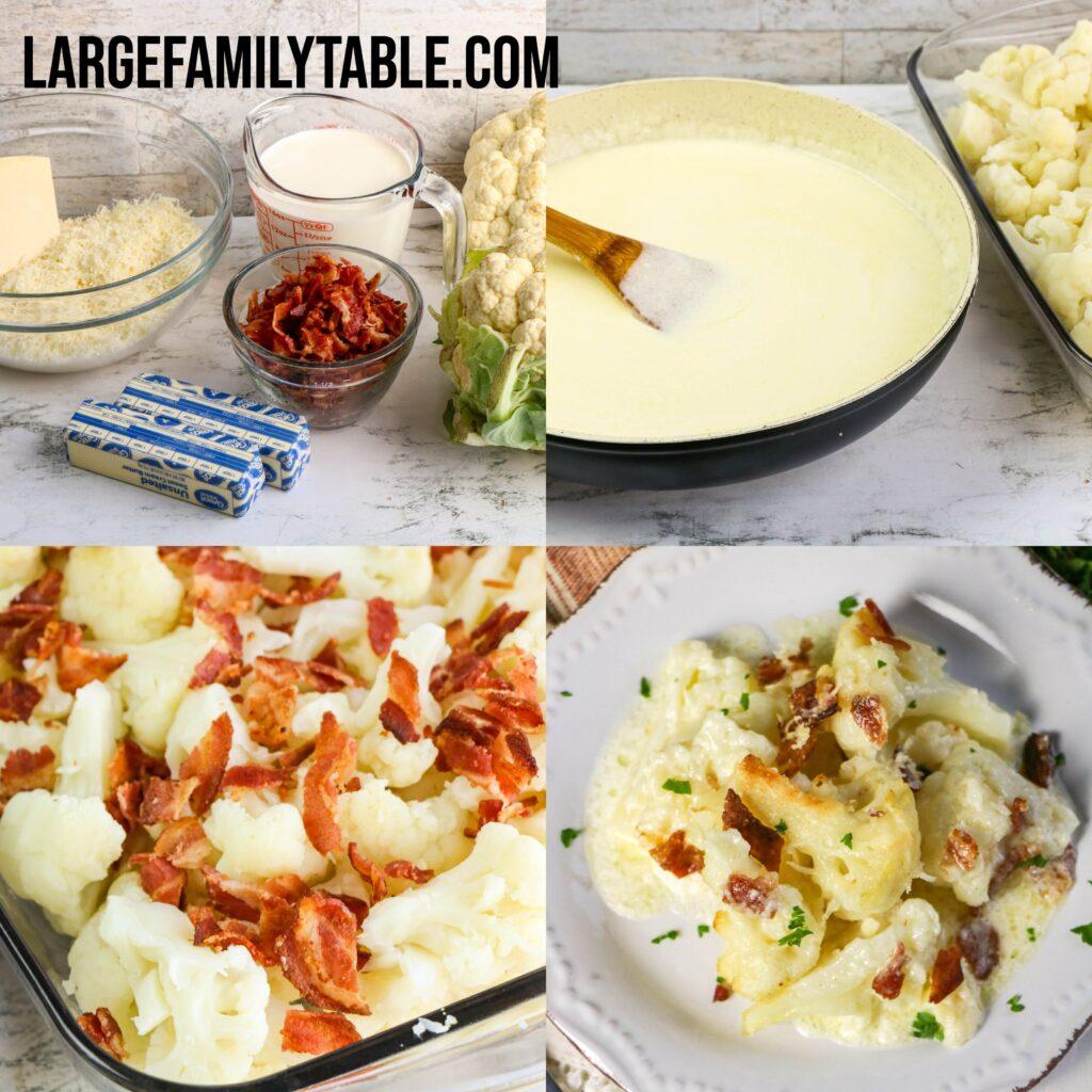 Big Family Low Carb Cauliflower Alfredo Casserole   THM-S, KETO