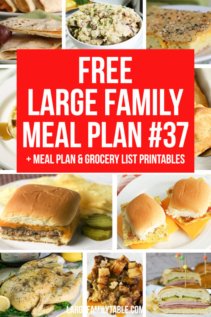 Large Family Time-Saving Meal Plan #37+ FREE Grocery List and Printable Planning Pack   Weekly Budget Saver