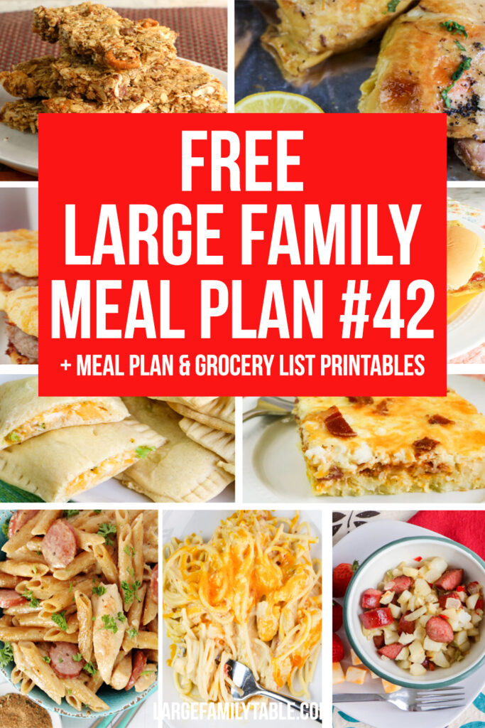 Stress-Free Large Family Meal Plan Week #42 on a Budget+ FREE Clickable Planning Pack and Grocery List