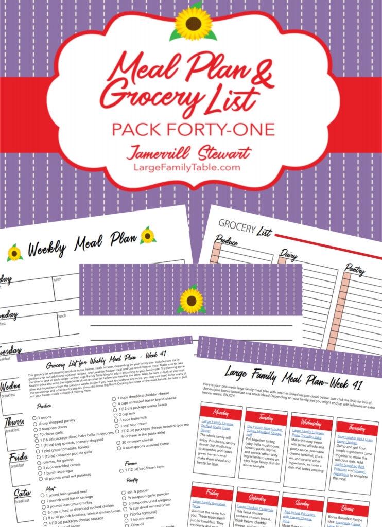 Simple Time-Saving Meal Plan 41 for a Large Family + FREE Grocery List and Printable Planning Pack