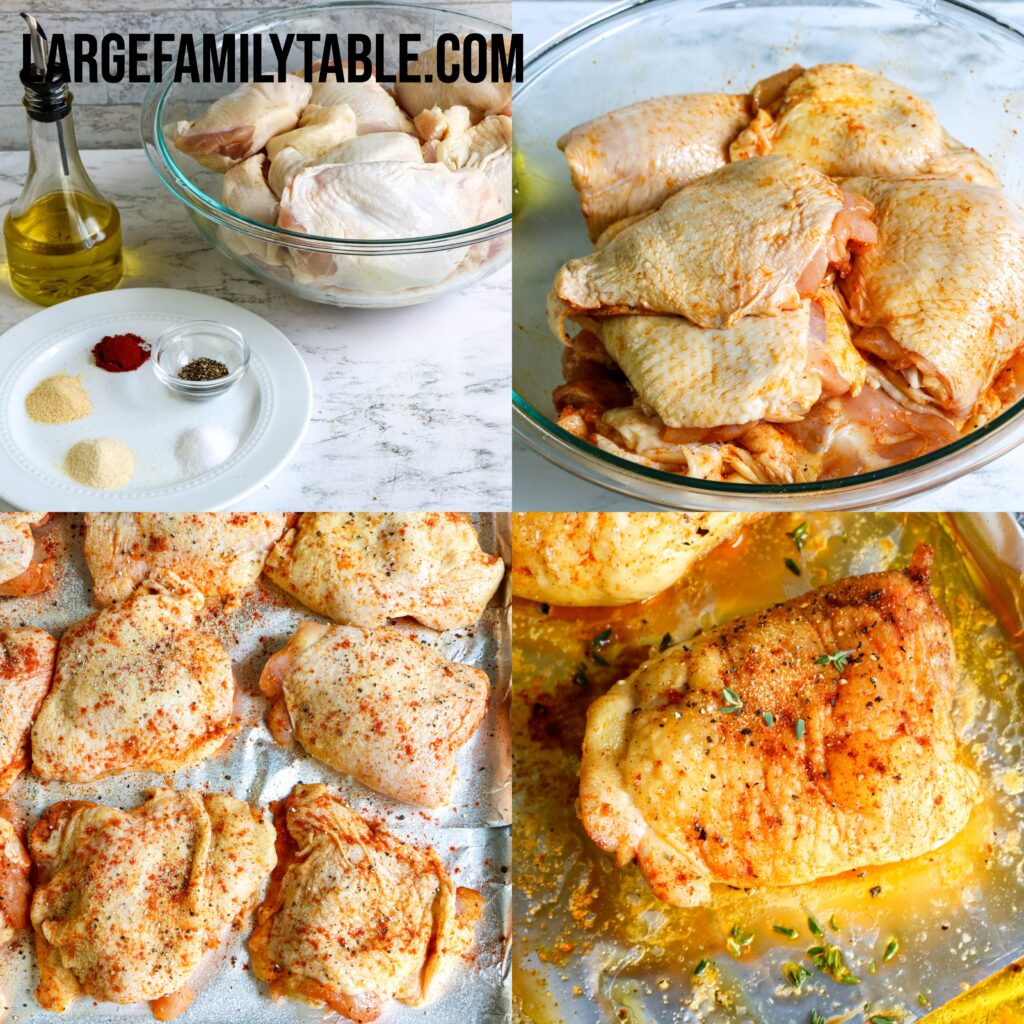 Large Family Oven Baked Chicken Thighs