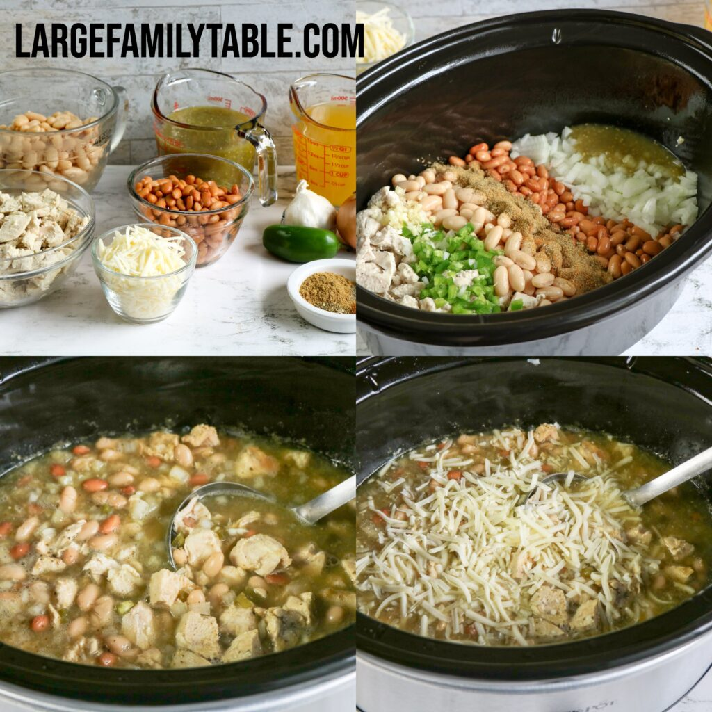 Large Family Slow Cooker White Chicken Chili | Dairy-free Option