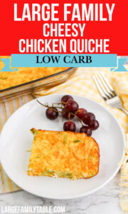 Large Family Low Carb Cheesy Chicken Quiche