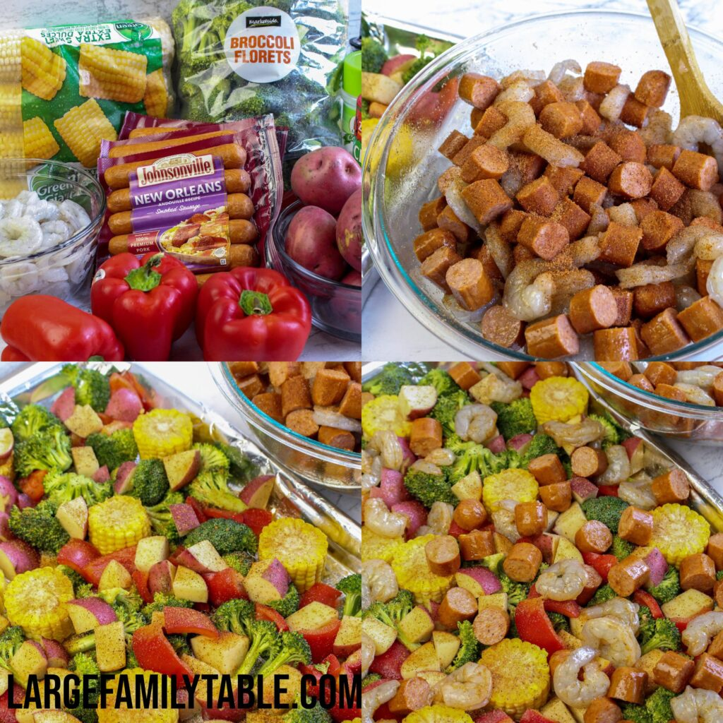 Large Family Cajun Shrimp and Sausage Sheet Pan   Dairy Free