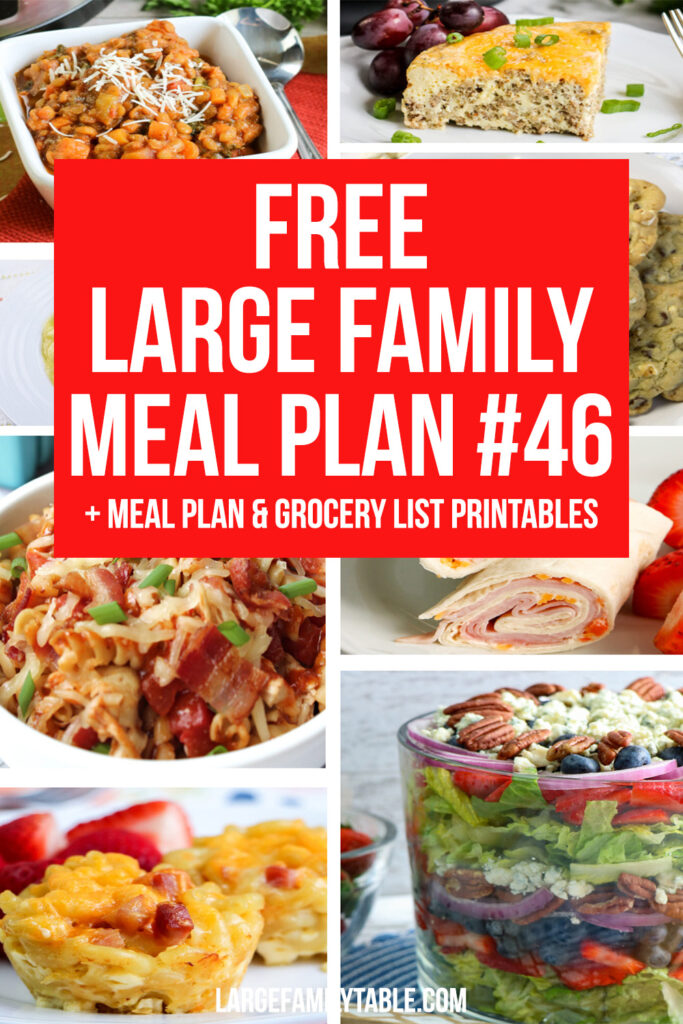 FREE Weekly Meal Plan #46 for a Large Family
