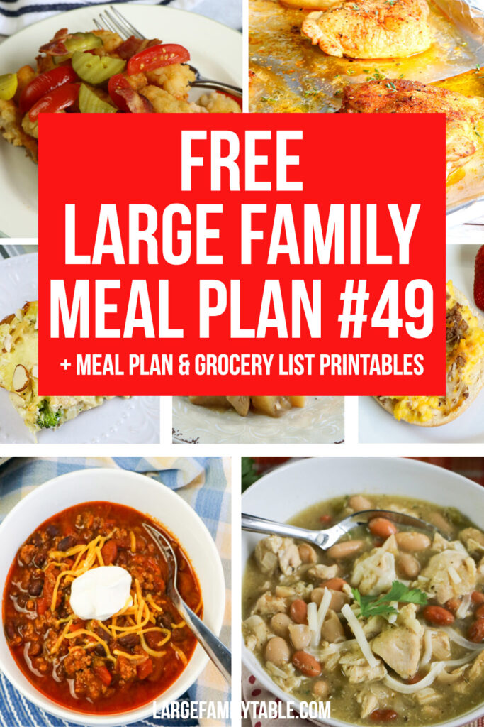 Sanity-Saving Large Family Meal Plan Week 49 + Printable Planning Pages and Grocery List