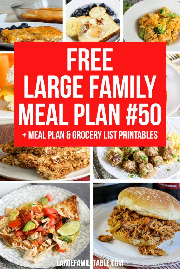 Large Family Budget Meal Plan 50 and Printable Pages with Clickable Grocery List