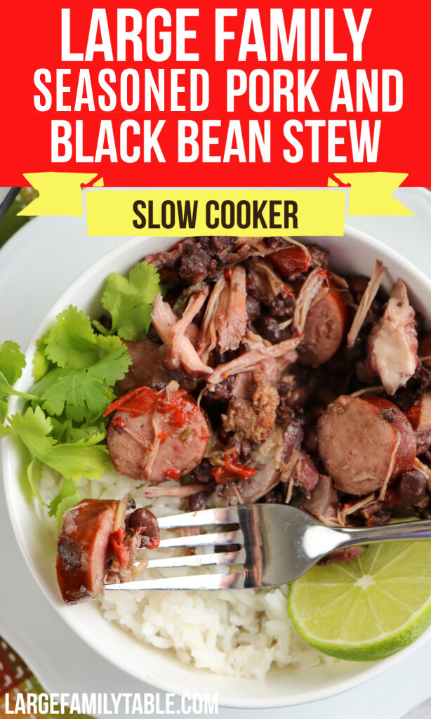 Large Family Slow Cooker Seasoned Pork and Black Bean Stew | Freezer Meals for Big Families, Dairy Free